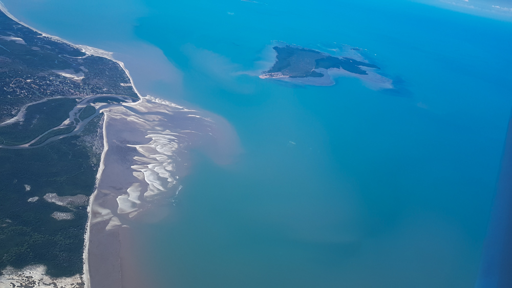 arial view of coastline