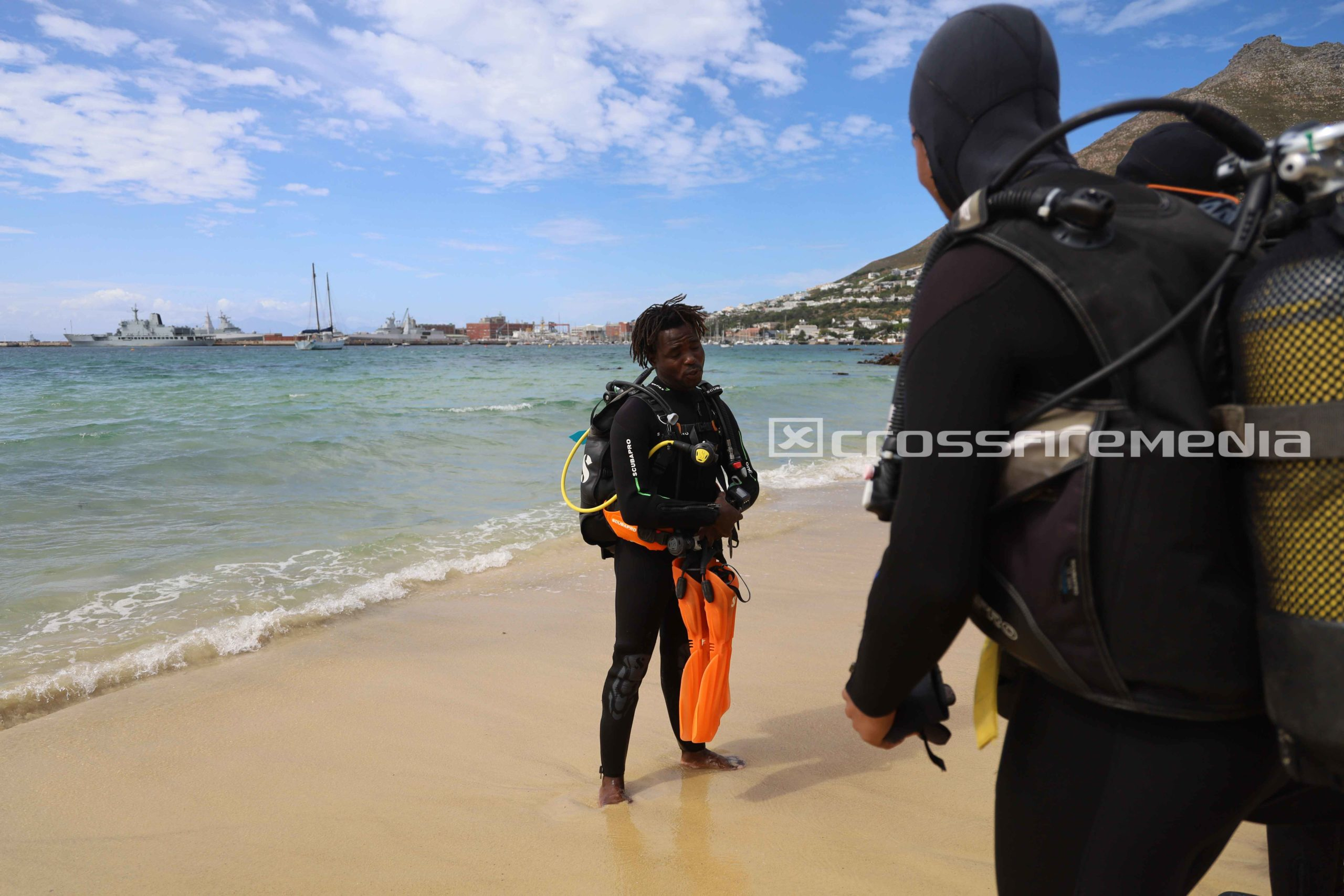 product feature images of scuba divers in scuba gear